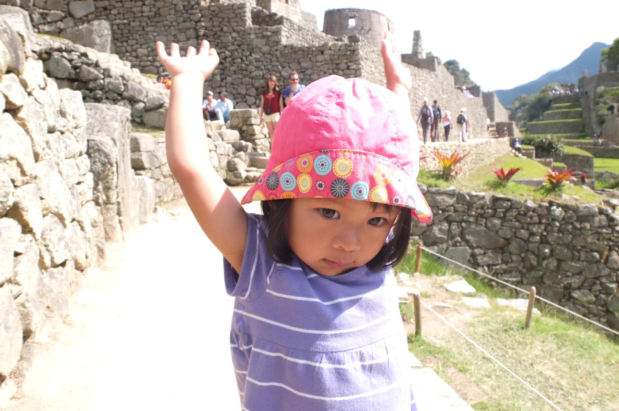 Talia having fun in Machu Picchu.