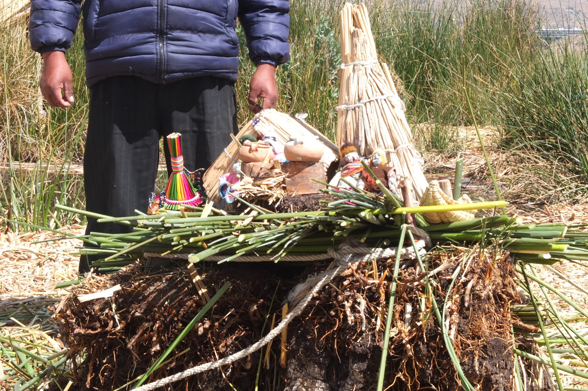 Lake Titicaca from Puno, Peru. The people built their house on reeds.