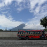 This is a typical 'chicken bus' in Guatemala, the standard local transport. It gets you places faster than a tourist shuttle, but be prepared to squeeze with a few feathery friends and leave the fate of your life in the hands of the friendly but reckless driver!