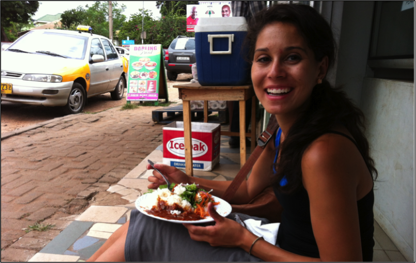 my friend Nicole whom I met at work enjoying her lunch