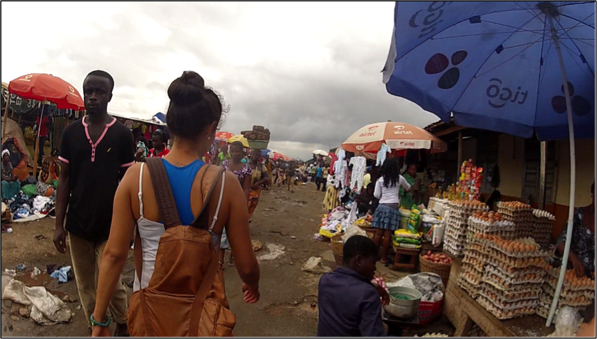braving the 'bend down' – the main market place for food and clothing in Ghana. This was before things got rowdy