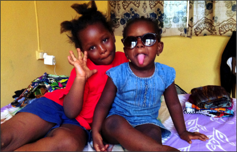 The two adorable daughters of Mr and Mrs Aduakye, who kindly hosted me for a week