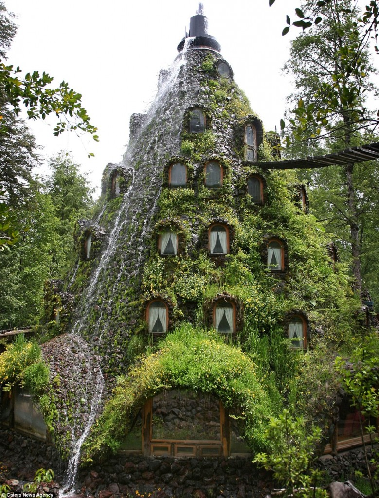 This awesome hotel has waterfalls cascading down from the top outside the windows of the 13-room retreat. The lodge is situated in the middle of a private reserve, and is only accessible by foot.