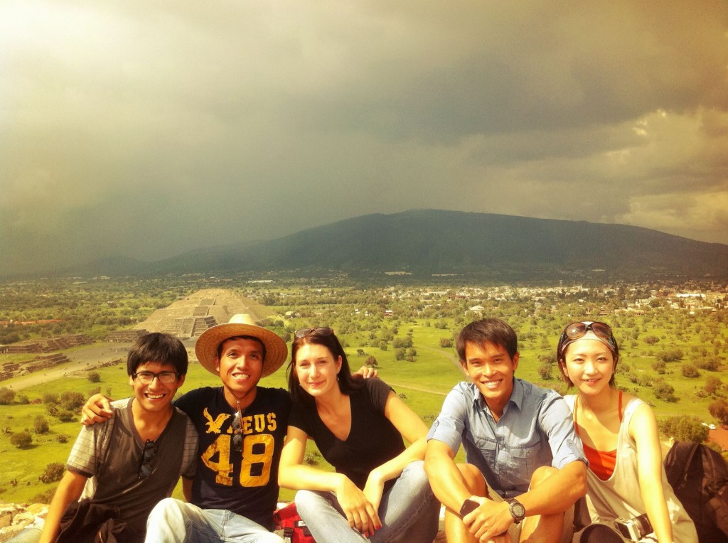 My friends and I atop Teotihuacan, a UNESCO World Heritage site
