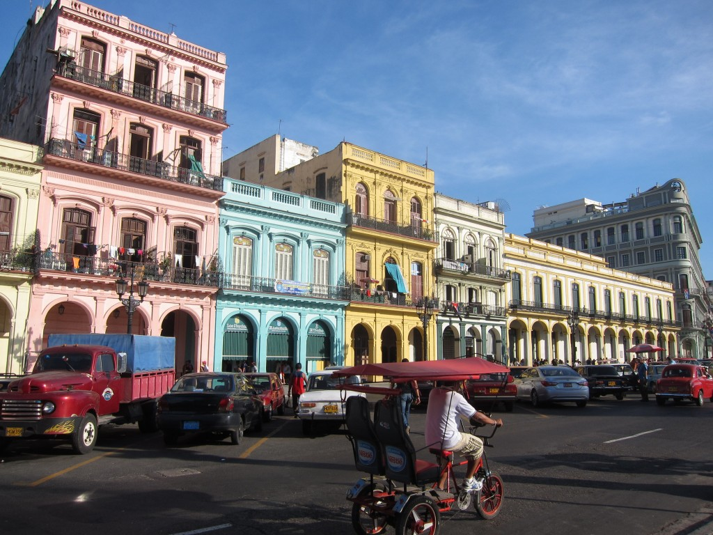 Colourful colonial buildings lining the main street