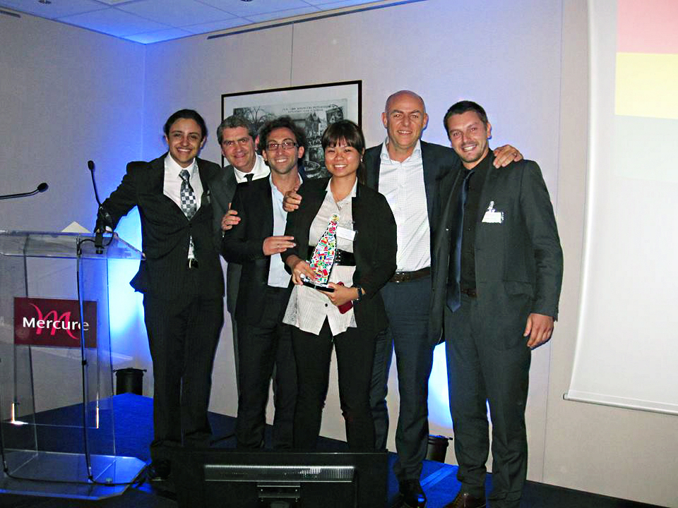 Esther and her team winning the Best Sales Innovation Award for 1st Moet & Chandon Golden Festival at the Moet Hennessy Regional Marketing Meeting 2013