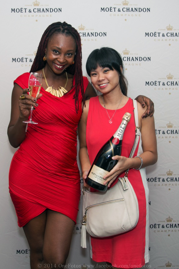 Esther at a Moet PR Dinner La chaumiere with famous Ghanian PR and fashion extraordinaire, Makeba Boateng