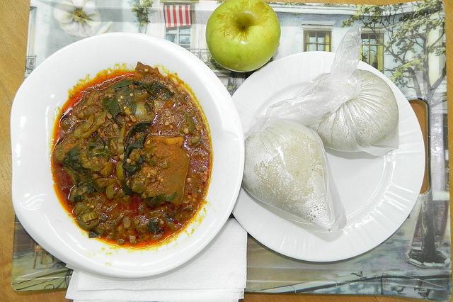 Banku with Okro Stew
