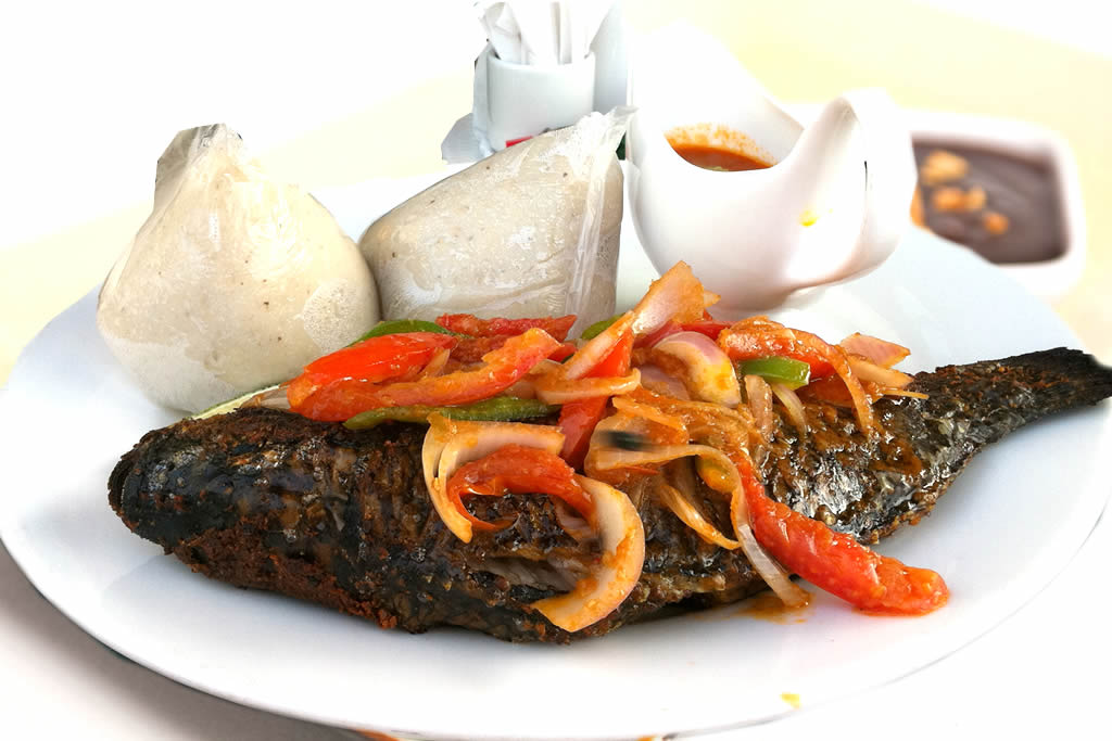 Banku with Tilapia Fish