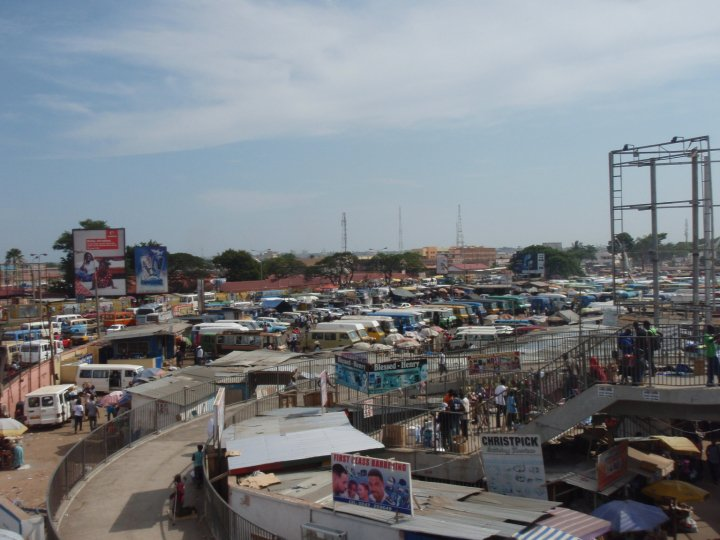 Kwame Nikrumah Circle, the largest tro-tro terminal in Accra