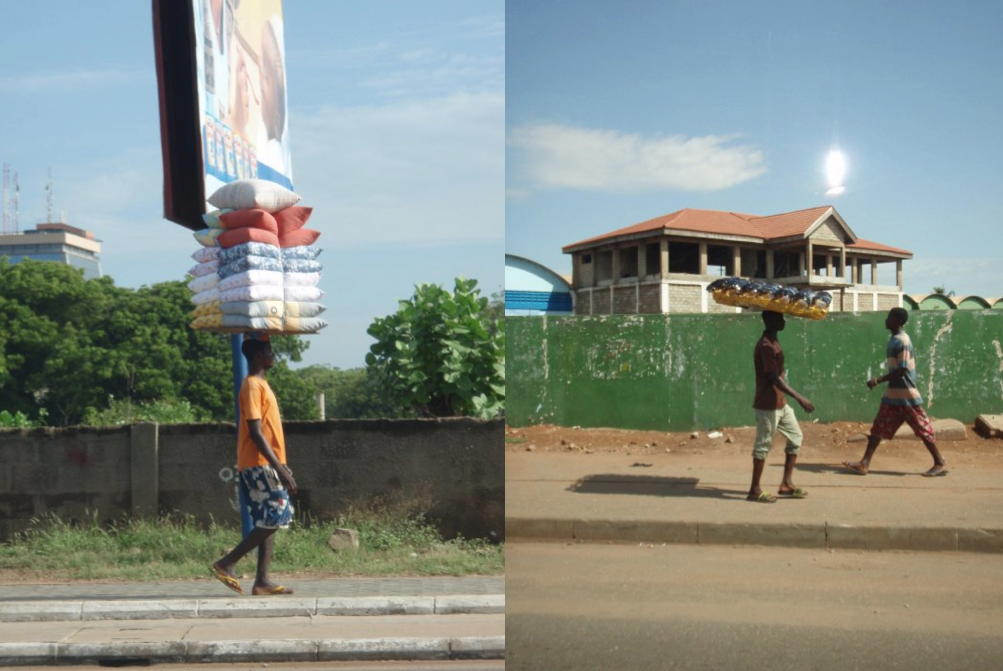 Ghanaians selling pillows (Left) and Sunglasses (Right)