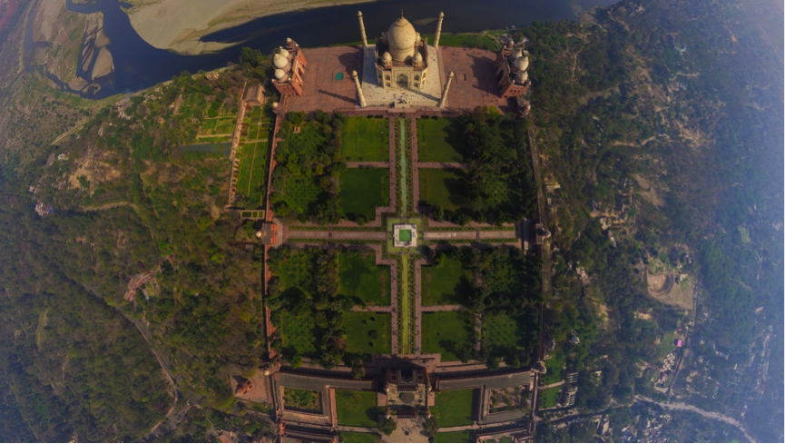 Check out this aerial view of the Taj Mahal. Do you see the four quadrangles (or baghs)? Source: Secrets Behind History