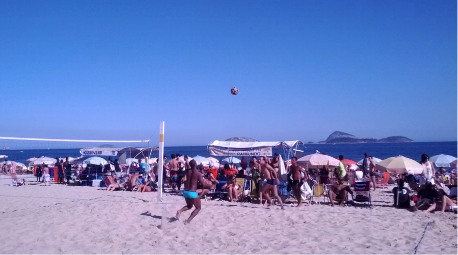 2-on-2 footvolley action on Ipanema Beach!