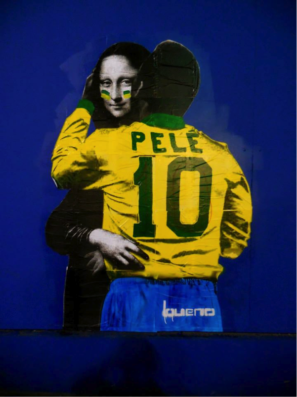 Naughty mona lisa hugging Pele!