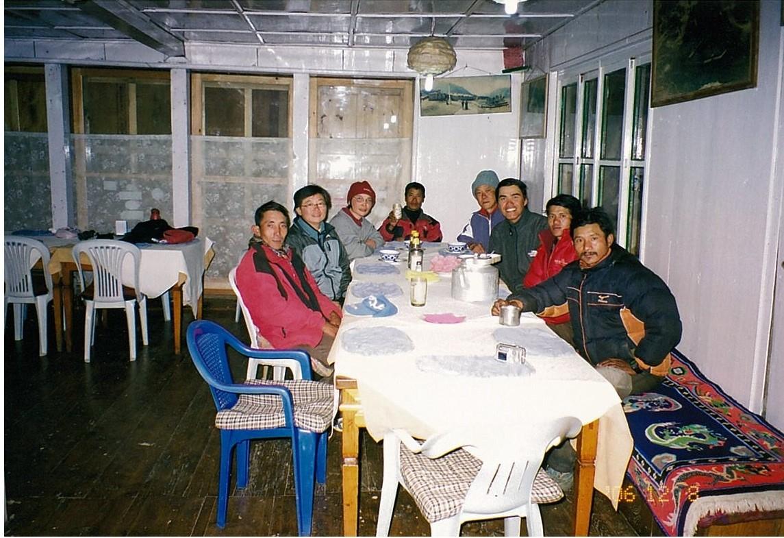 The trekking group in a guesthouse before the start of the expedition.