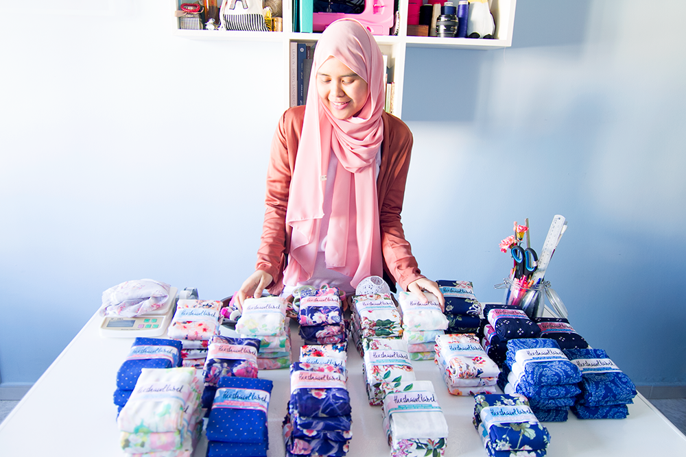 Aida with her shawl collection