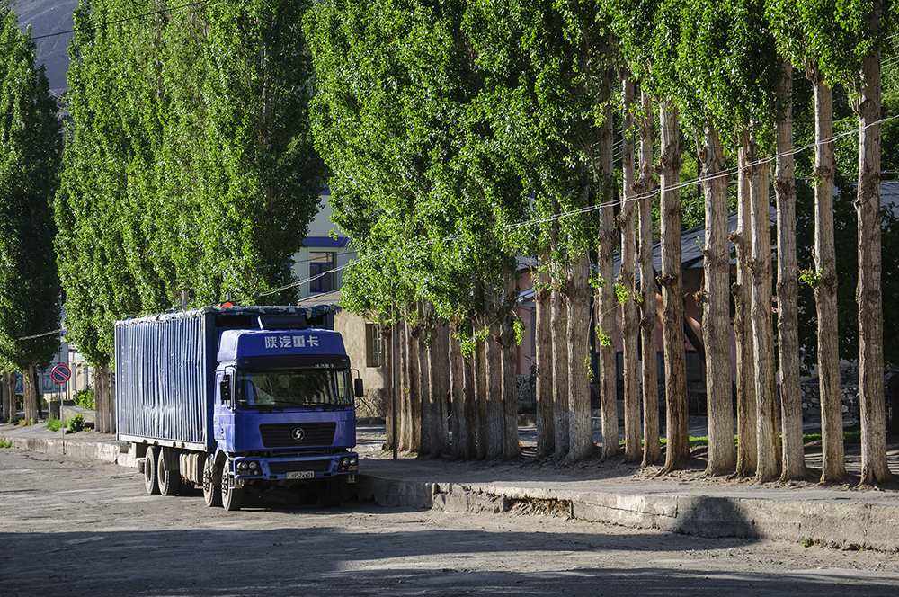 A Chinese truck on the main street in Ishkashim