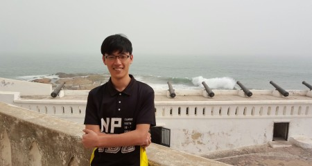 Michael at Cape Coast Castle during the hazy period of Harmattan, when dry and dusty wind blows from the Saharan Desert over West Africa.