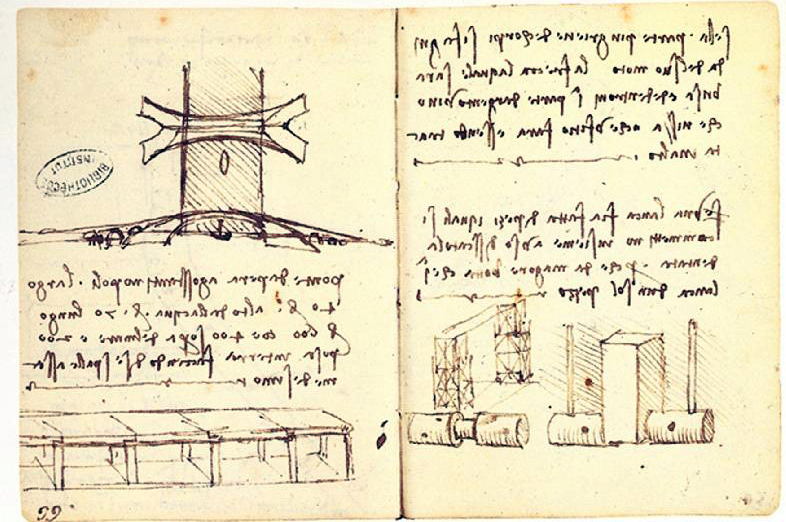 Blueprints of Leonardo Da Vinci's proposed design for Galata Bridge. PHOTO: wikipedia.com