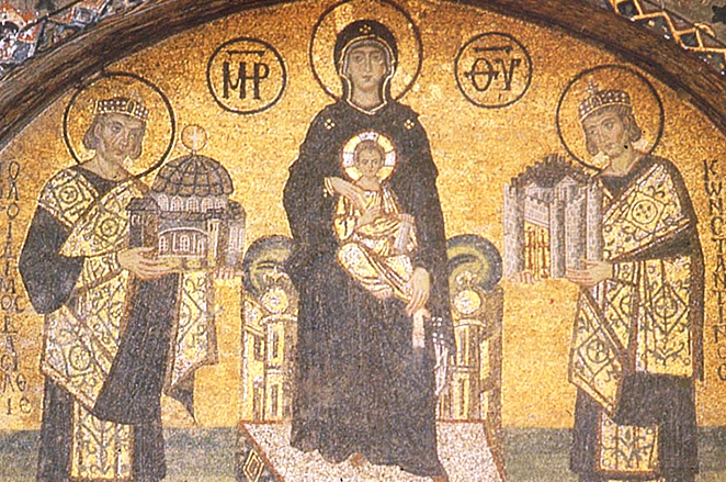 Mosaic of Virgin Mary between Emperor Justinian and Constantine. PHOTO: Medievalwall.com