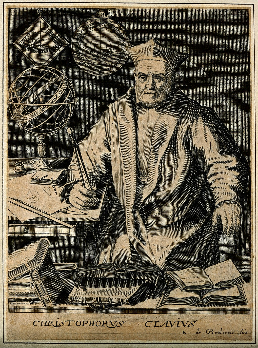 V0001150 Christopher Clavius. Line engraving by E. de Boulonois.